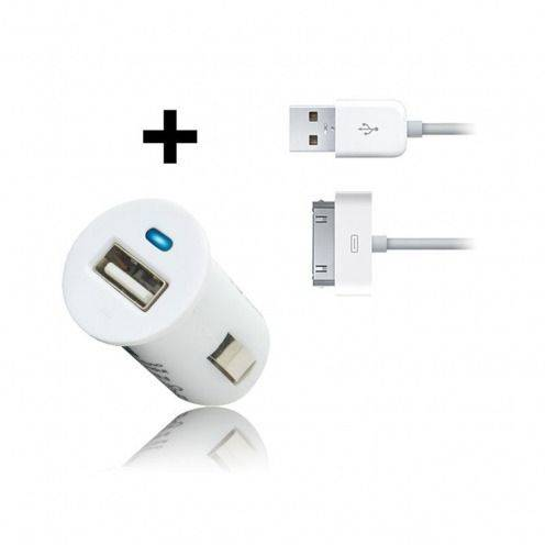 Micro chargeur voiture / Allume cigare USB avec Câble data Blanc iPhone 3G/S/4/S