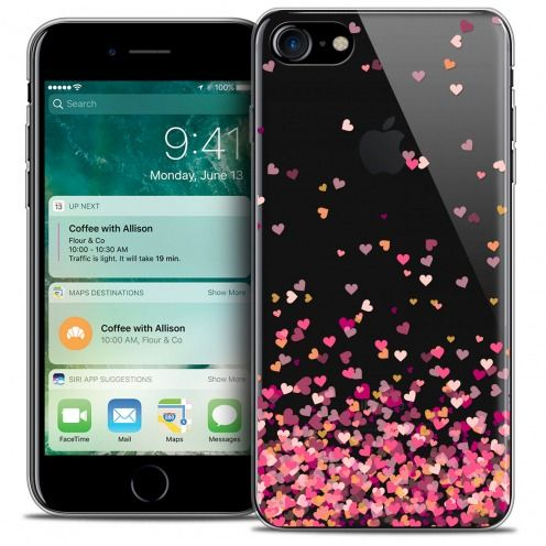"""Coque Crystal Gel Apple iPhone 7 (4.7"""") Extra Fine Sweetie - Heart Flakes"""
