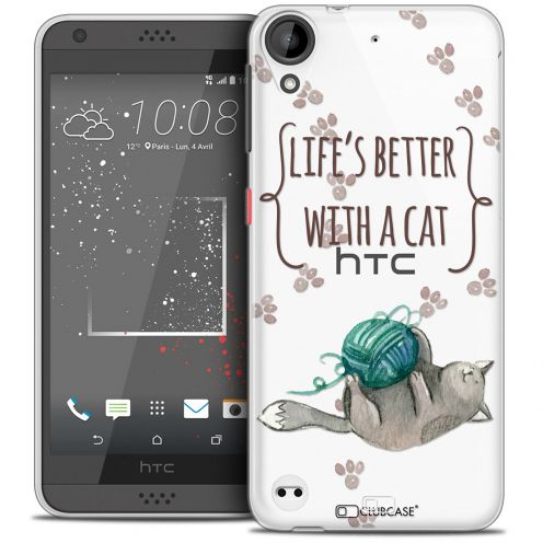 Coque Crystal Gel HTC Desire 530/630 Extra Fine Quote - Life's Better With a Cat