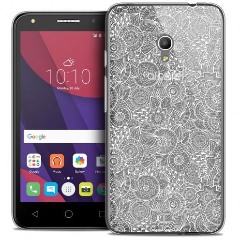 """Extra Slim Crystal Gel Alcatel Pixi 4 5.0"""" (5045X) Case Floral Lace Collection - White"""