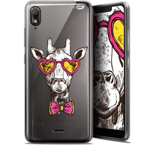 "Extra Slim Gel Wiko View 2 GO (5.93"") Case Design Hipster Giraffe"