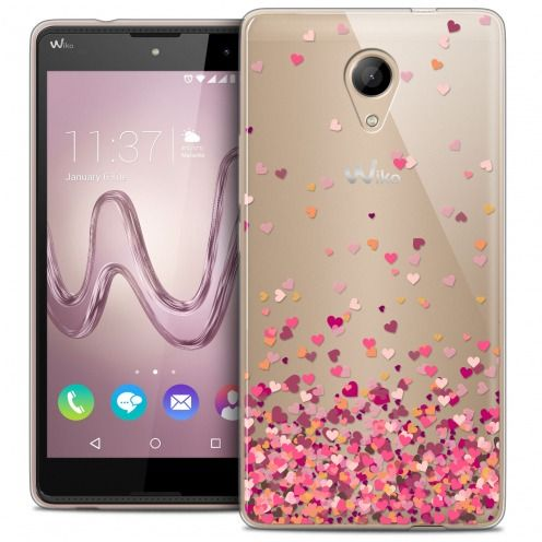 Coque Crystal Gel Wiko Robby Extra Fine Sweetie - Heart Flakes