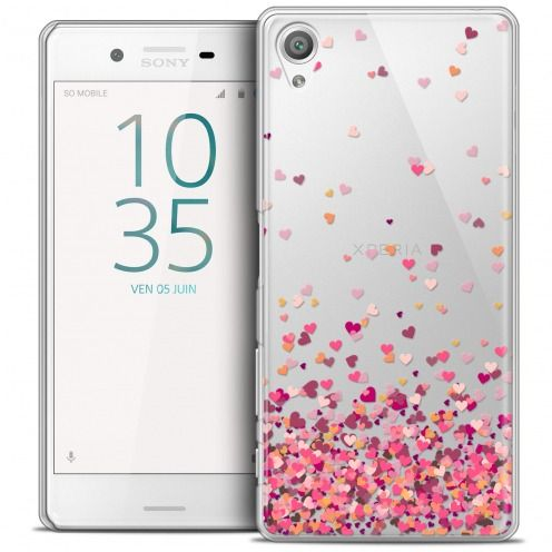 Coque Crystal Xperia X Extra Fine Sweetie - Heart Flakes