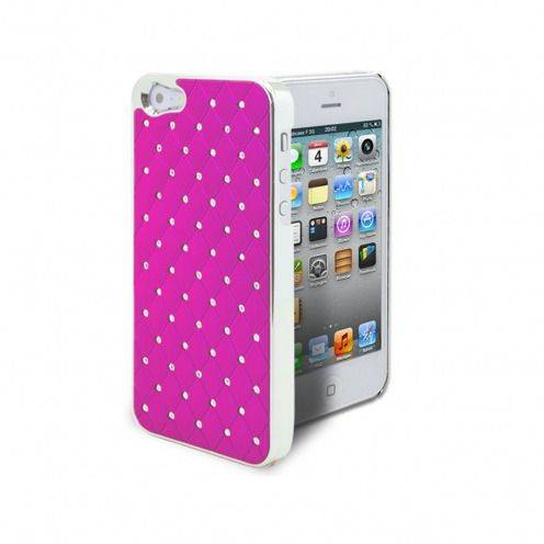 Coque iPhone 5 Luxury Satin & Diamant Fushia
