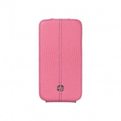 Housse cuir véritable à clapet rotative Textra® Flippo lézard rose iPhone 4/4S