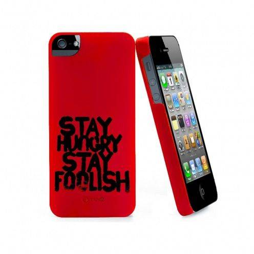 Coque Muvit® Stay Hungry Stay Foolish rouge pour iPhone 5 - 5S