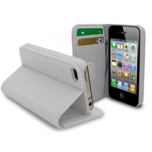 Smart Cover iPhone 4/4S Cuirette Pleine Fleur Blanche