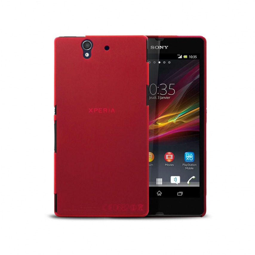 Photo réelle de Coque Ultra Fine 0.3mm Frost XPERIA Z Rouge