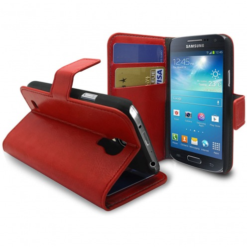Smart Cover Samsung Galaxy S4 mini Cuirette Marbrée Rouge