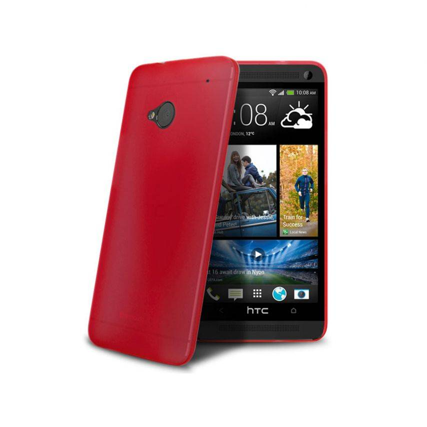 Funda Ultra fino 0.3mm Frost HTC One rojo