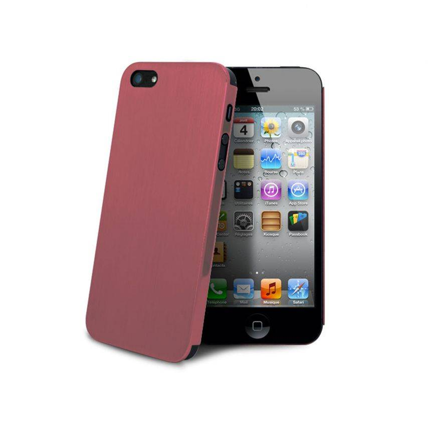 Photo réelle de Coque Ultra-Fine 0,3 mm métal brossé Acero iPhone 5 / 5S Rose