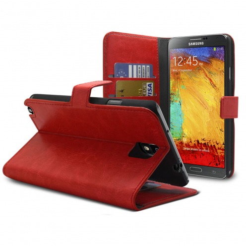 Smart Cover Samsung Galaxy Note 3 Cuirette Marbrée Rouge