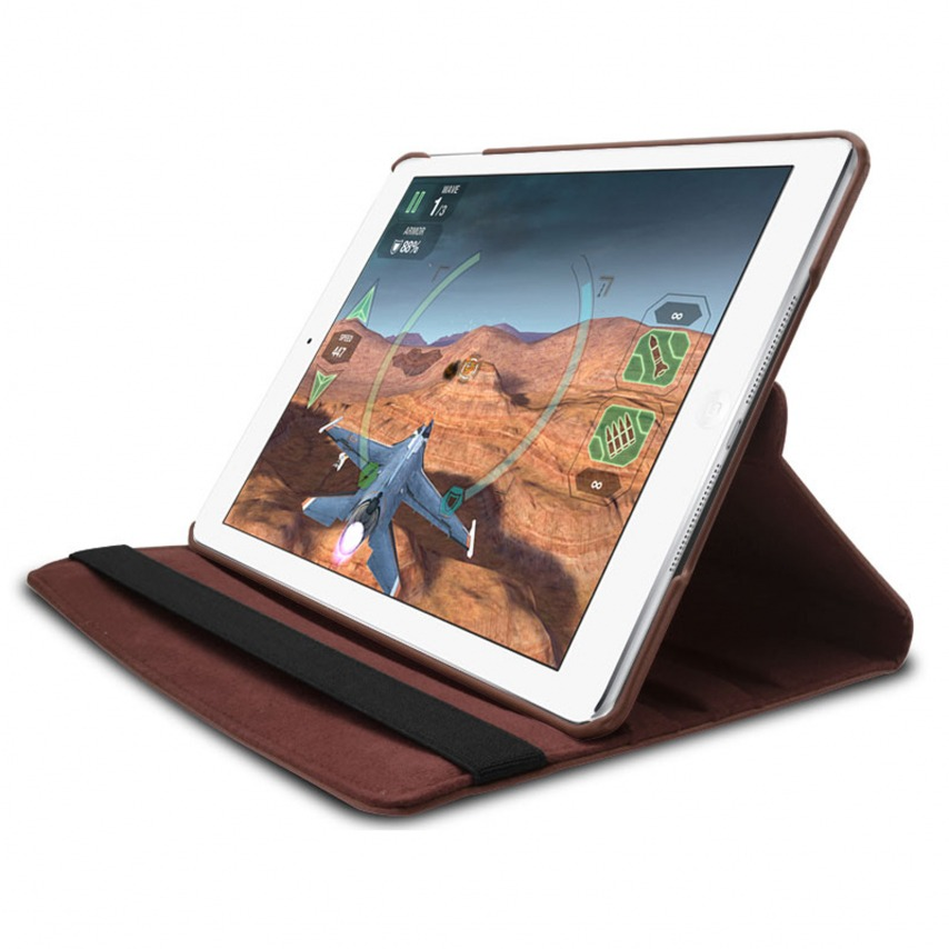 Photo réelle de Coque iPad Air rotative 360° cuir PU Marron