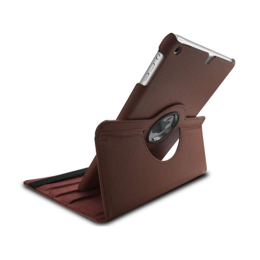 Vue portée de Coque iPad Air rotative 360° cuir PU Marron