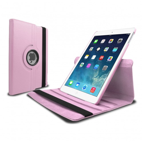 Coque iPad Air rotative 360° cuir PU Rose
