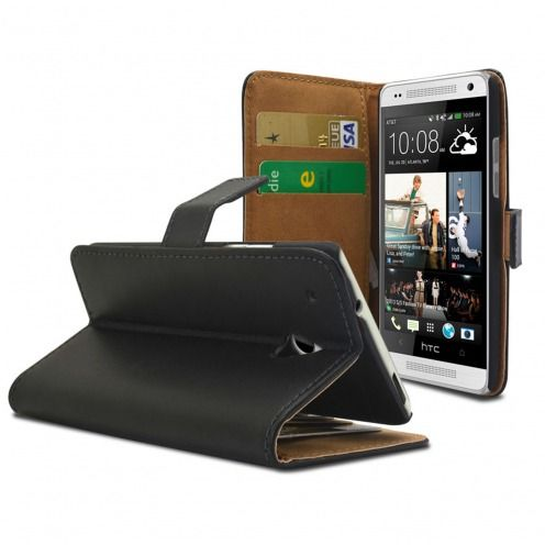 Smart Cover HTC One mini Croute de Cuir Noire