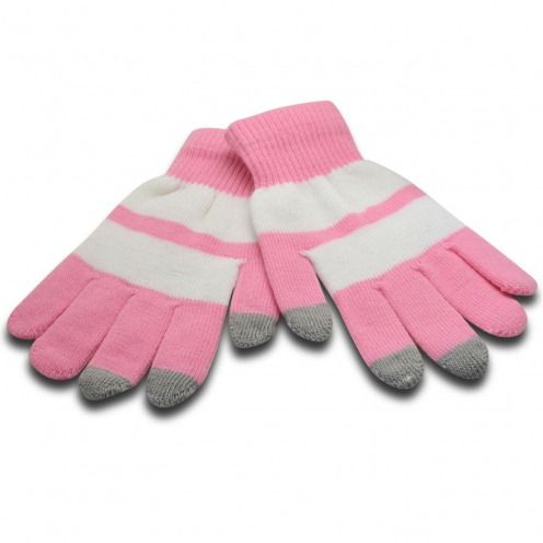 iTouch - Gants tactiles spécial iPhone Rose & Blanc - Taille S