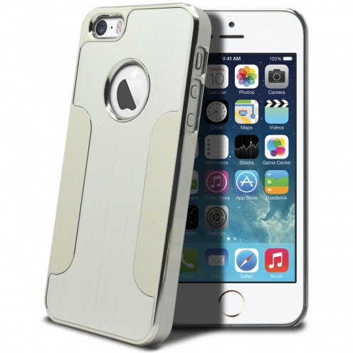 Coque iPhone 5S / 5 Aluminium Chrome COLORS BRUSH Argentée