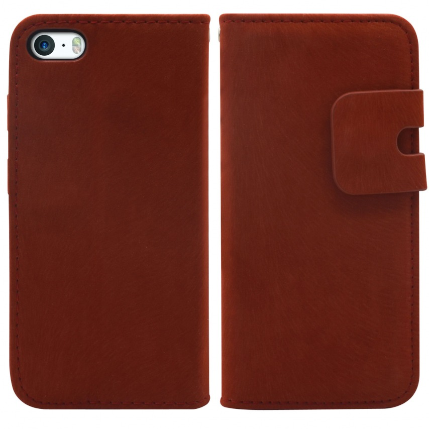 Photo réelle de Smart Cover iPhone 5/5S finition Daim Amarante