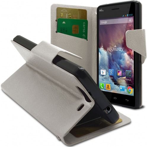 Smart Cover Wiko Highway Cuir PU grain maroquinerie Blanche