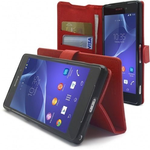 Smart Cover XPeria Z2 Folio Skin Texture Rouge