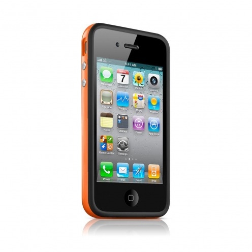 Coque Bumper HQ Noir / Orange Pour iPhone 4S / 4