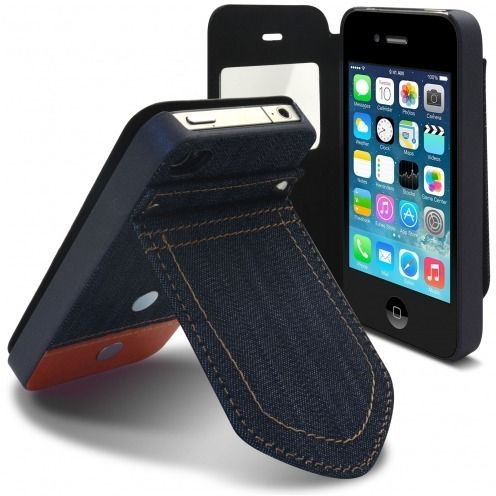 Coque Folio iPhone 4 / 4S Jeans Pocket Stand Orange