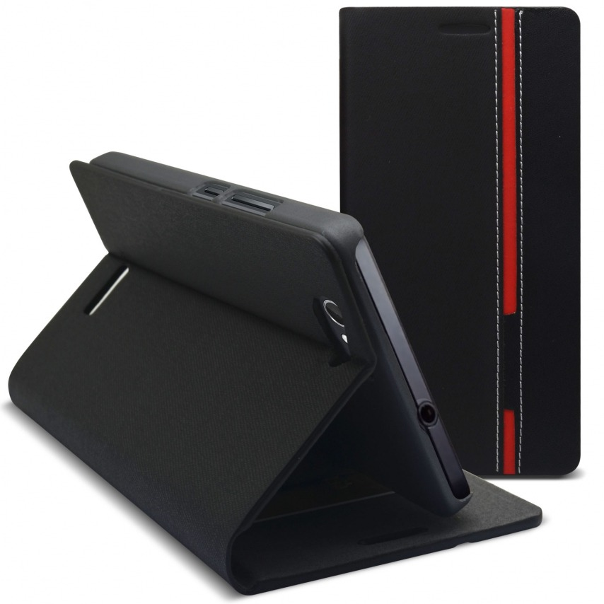 Photo réelle de Coque Etui Folio Wiko Getaway Monte Carlo Design Noir/Rouge