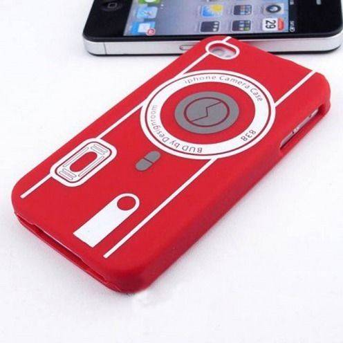 Housse Silicone Camera Rouge pour iPhone 4S / 4