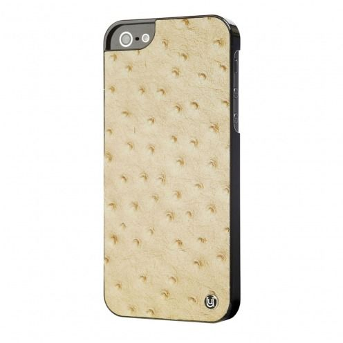 Coque iPhone 5 / 5S / SE Uunique® London Cuir Veritable Ostrich Tan