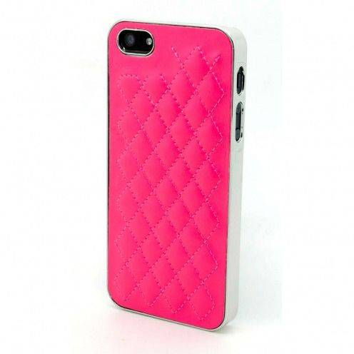 Coque iPhone 5S / 5 DELUXE Cuir & Chrome Fushia