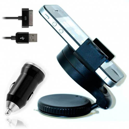 Mini Support voiture + Mini chargeur + Câble iPhone 3G/S/4/S