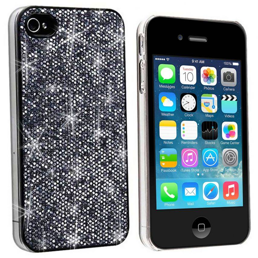Luxury glitter and bling case for iPhone 4/4S Black