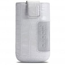 Bugatti® Genuine Leather Pouch SlimCase Croco Size M 73x122mm White