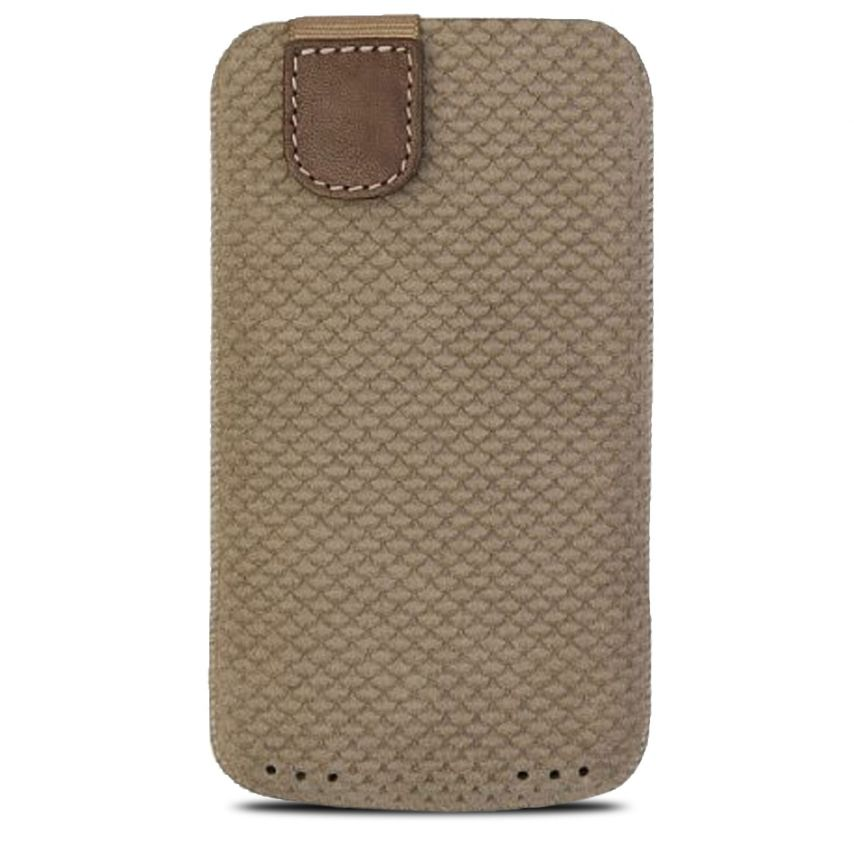 Funda Bolsa Bugatti® Cuero Genuino Perfect Scale Talla M Beige