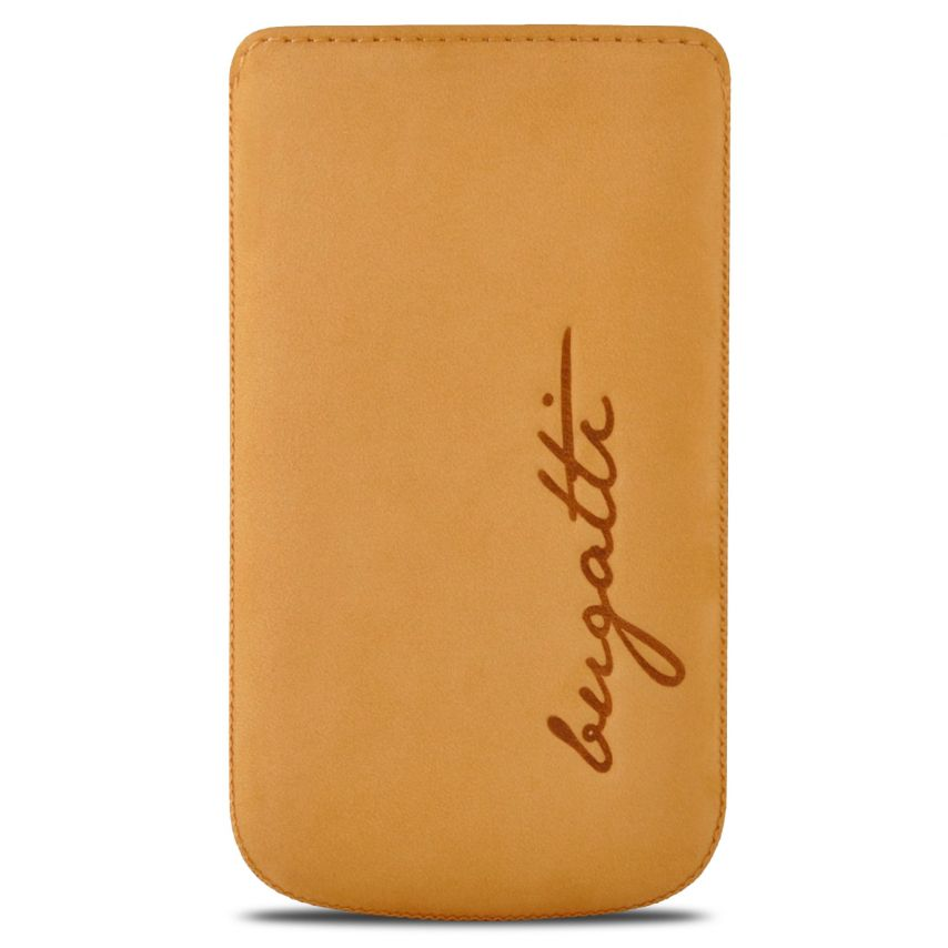 Etui Pouch Bugatti® Perfect Velvety Cuir Véritable Honey - Taille M