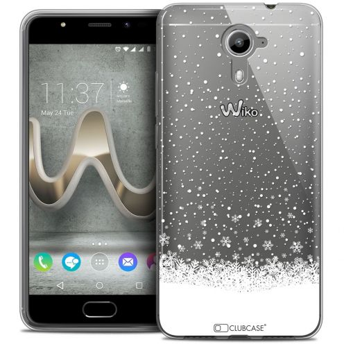 Coque Crystal Gel Wiko U Feel PRIME Extra Fine Noël 2016 - Flocons de Neige