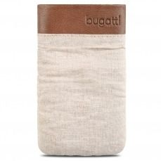 Etui Pouch Bugatti® Elements Twice Cuir Textile Beige Safari - Taille M 73x125mm