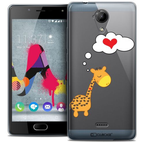 Coque Crystal Gel Wiko U Feel LITE Extra Fine Love - Girafe Amoureuse